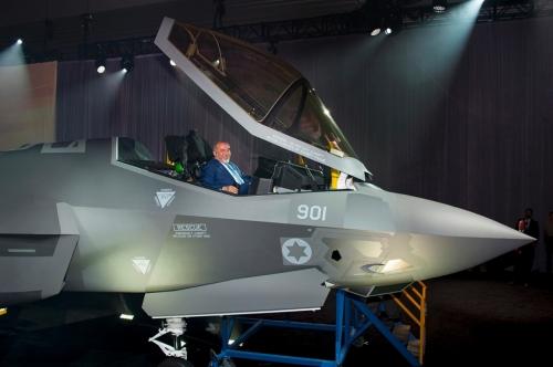 F-35 de Israel con el Ministro de Defensa Avigdor Lieberman