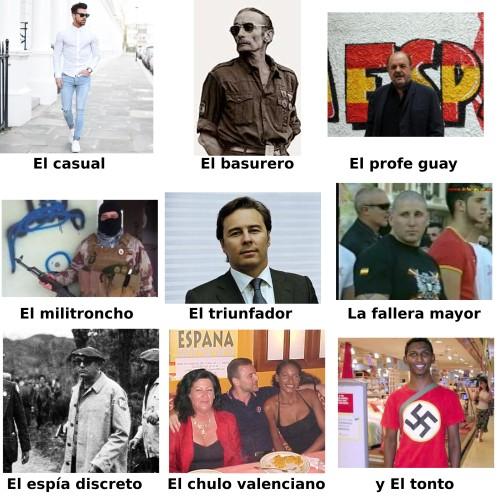 Distintos tipos de fascistas y neonazis españoles