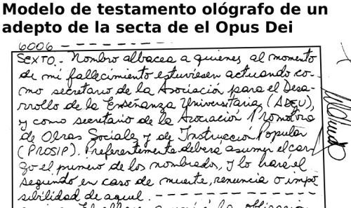 Testamento de adepto de el Opus Dei