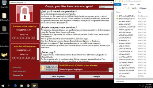 Ordenador infectado con Wannacry