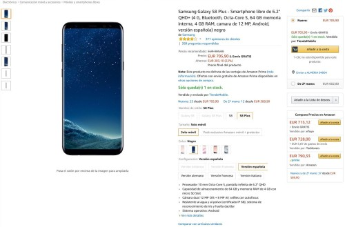 Samsung S8 Plus en Amazon
