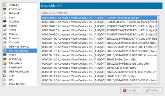 Listado de dispositivos instalables en Virt Manager