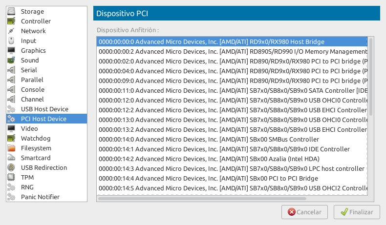 Listado de dispositivos instalables en Virt Manager